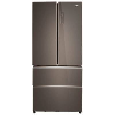 Haier HB18FGSAAA American Fridge Freezer - Titanium Glass