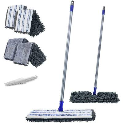 MASTERTOP Noodle Mop Double-Sided Flat Mop for All Types Floor Cleaning Flip Mop 2in1 with 4 Chenille Mop Heads and Scraper Comb